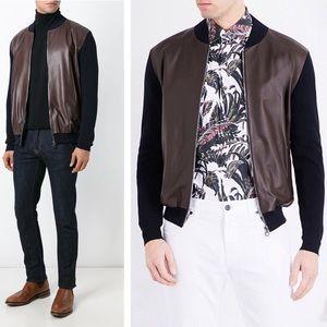 SALVATORE FERRAGAMO - Leather front Bomber sweater